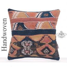 Antique Old Kilim Throw Pillow Indigo Blues Hand Woven Turkish Cushion