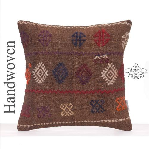 "Camel Wool Embroidered Pillow 16x16"" Decorative Turkish Kilim Cushion"