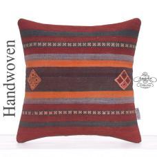 "Designer Embroidered Kilim Rug Pillow 16x16"" Decorative Square Cushion"