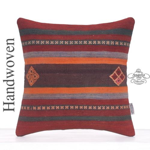 "Designer Embroidered Kilim Rug Pillow 16x16"" Decorative Square Cushion"