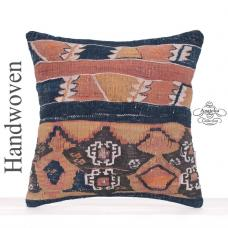"Old Decorative Turkish Kilim Pillow 16"" Square Oriental Blues Cushion"