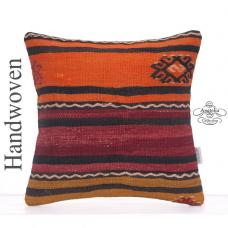 Oranges Anatolian Kilim Throw Pillow Embroidered Vintage Rug Cushion