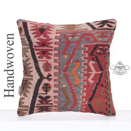 Oriental Antique Kilim Rug Pillow 16x16 Geometric Tribal Kelim Cushion