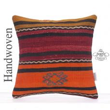 "Striped Colorful Cushion 16"" Decorative Turkish Kilim Rug Throw Pillow"