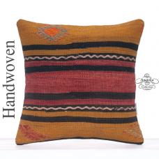 Striped Vintage Kilim Pillowcase Decorative Turkish Kelim Rug Pillow