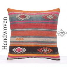 "Colorful Bohemian Pillow 16x16"" Kilim Cushion Turkish Striped Cushion"