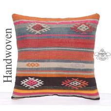 "Colorful Bohemian Pillow 16x16"" Kilim Cushion Turkish Striped Cushion"