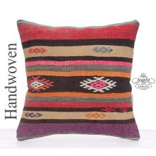 "Colorful Boho Decor Throw Pillow 16"" Striped Decorative Kilim Cushion"