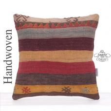 Colorful Vintage Turkish Kilim Rug Pillow Retro Decor Throw Cushion