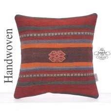Striped Vintage Kilim Pillow 16x16 Decorative Square Kelim Rug Cushion