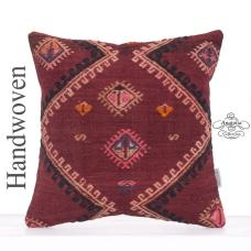 Bohemian Retro Kilim Pillowcase 16x16 Square Decorative Eclectic Throw