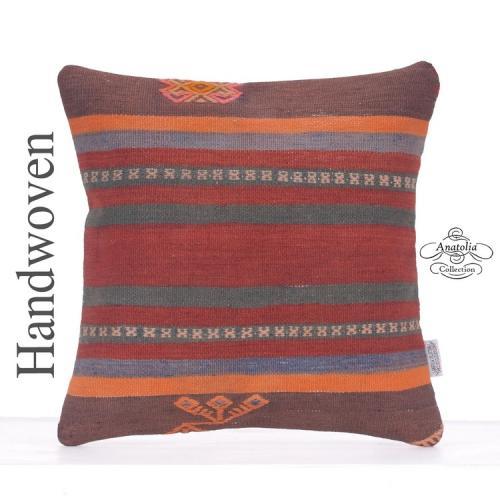 Ethnic Square Kilim Pillow Retro Interior Decor Accent Striped Cushion