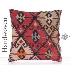 "Geometric Oriental Kilim Rug Pillow 16"" Turkish Retro Handmade Cushion"