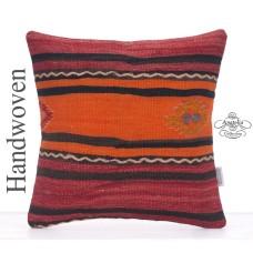 Striped Retro Kilim Pillow 16x16 Tribal Decorative Turkish Rug Cushion