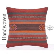 "Striped Vintage Kelim Rug Cushion 16x16"" Tribal Decor Accent Pillow"