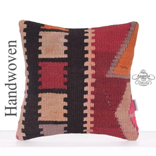 Cottage Decoration Kilim Rug Pillow 16x16 Ethnic Turkish Kelim Cushion