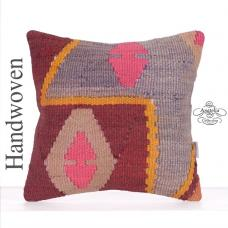 "Retro Decorative Square Throw Pillow 16x16"" Tribal Turkish Kilim Throw"