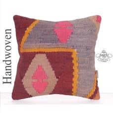 "Retro Decorative Square Throw Pillow 16x16"" Tribal Turkish Kilim Throw"