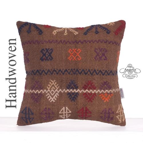 Vintage Embroidered Cushion Turkish Handwoven Camel Wool Kilim Pillow