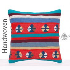 "Colorful Anatolian Kilim Rug Pillowcase 16x16"" Sofa Couch Throw Pillow"