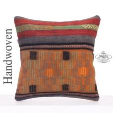 Vintage Anatolian Throw Pillowcase 16x16 Retro Decorative Kilim Pillow