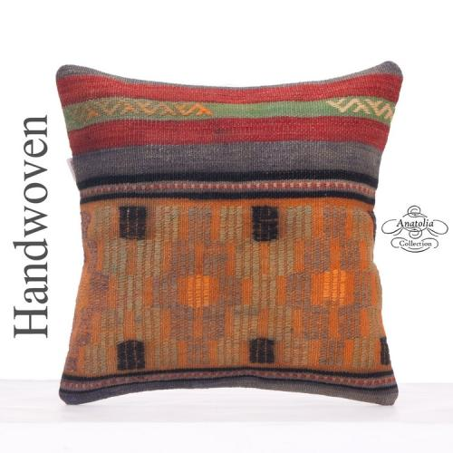 Vintage Anatolian Throw Pillowcase 16x16 Retro Decorative Kilim Pillow
