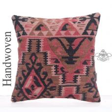 "Anatolian Kilim Pillow Cover 16"" Handmade Decorative Turkish Rug Throw"