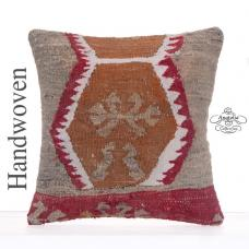 "Anatolian Retro Kilim Pillow 16x16"" Tribal Eclectic Home Decor Throw"
