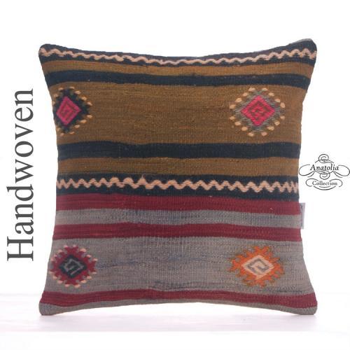 "Embroidered Decorative Kilim Pillowcase 16x16"" Vintage Turkish Cushion"
