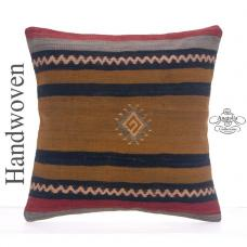 "Ethnic Decorative 16"" Pillowcase Striped Handmade Turkish Kilim Pillow"