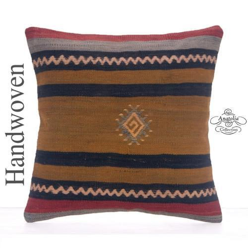 "Ethnic Decorative 16"" Pillowcase Striped Handmade Turkish Kilim Pillow"