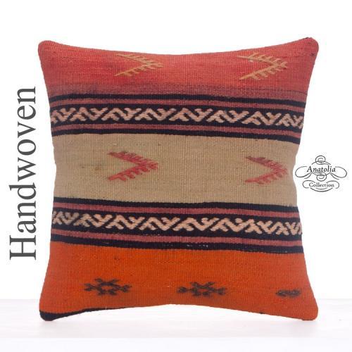 Handmade 16x16 Kilim Pillow Embroidered Decorative Vintage Rug Cushion