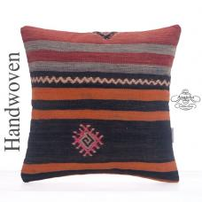 "Old Handmade Kilim Pillow 16x16"" Striped Turkish Rug Colorful Cushion"