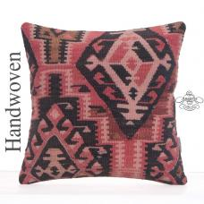 Oriental Geometric Kilim Rug Pillow Cover 16x16 Sofa Couch Decor Throw