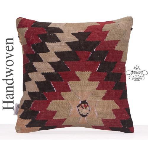 "Retro Decorative Kilim Cushion 16x16"" Anatolian Kelim Rug Throw Pillow"