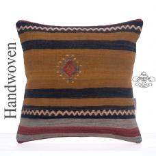 Retro Striped Kilim Pillowcase Tribal 16x16 Old Handmade Kelim Cushion