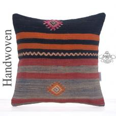"Striped Decorative Kilim Pillow 16"" Vintage Turkish Kelim Rug Cushion"