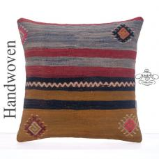 "Striped Vintage Kilim Rug Cushion 16"" Turkish Hand Woven Throw Pillow"