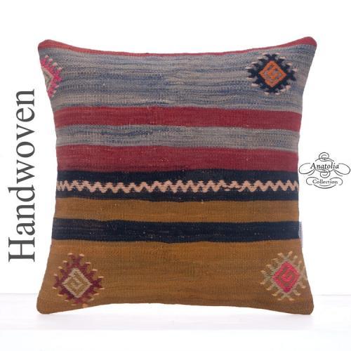 "Striped Vintage Kilim Rug Cushion 16"" Turkish Hand Woven Throw Pillow"