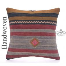 Striped Vintage Kilim Throw Pillow 16x16 Hand Woven Decorative Cushion