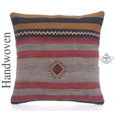 Vintage Striped Decorative Kilim Pillowcase 16x16 Antique Throw Pillow