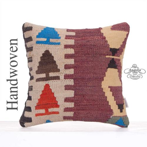 "Anatolian Rug Cushion Cover 16x16"" Handmade Sofa Decor Kilim Pillow"