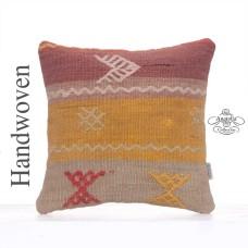 "Colorful Kilim Pillowcase 16x16"" Embroidered Retro Rug Cushion Cover"