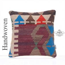 Contemporary Handmade Cushion 16x16 Turkish Kilim Rug Throw Pillowcase