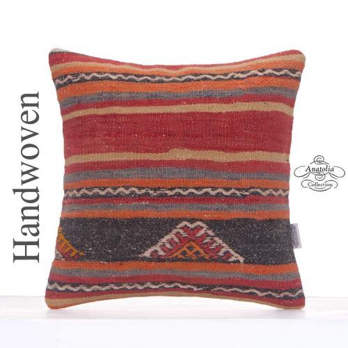 "Decorative Kilim Pillow Cover 16x16"" Vintage Turkish Rug Decor Throw"