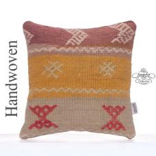 "Embroidered Decorative Pillow Cover 16x16"" Colorful Kilim Rug Cushion"