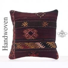 "Embroidered Rug Pillowcase 16"" Retro Turkish Kilim Throw Pillow Cover"