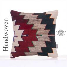 "Ethnic Turkish Kilim Rug Pillowcase 16x16"" Interior Decor Throw Pillow"