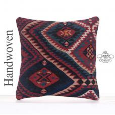 "Geometric Indigo Blue Kilim Pillow 16x16"" Eclectic Decor Rug Cushion"