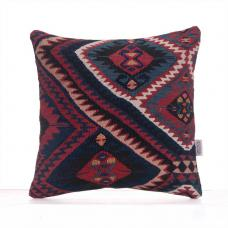 "Indigo Blue Kilim Pillow 16x16"" Tight Woven Turkish Rug Cushion Cover"